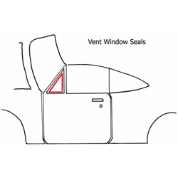 68 GM A 2dr Hardtop or Convertible, Vent Window Seals, 4pc Set